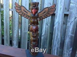 Signed 18 inch Antique Painted Northwest Coast Totem Pole