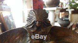 Signed Kbw Kathodian Bronze Art Statue Sculpture Indian Native American Desk Set