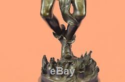 Signed Native American Indian Dancer Medicine Man Bronze Sculpture Art Deco