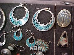 Sterling Antique Recent turquoise Native bracelet ring jewelry lot 356 grams