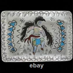 Sterling Silver Native American Eagle Kachina Turquoise 80s Vintage Belt Buckle