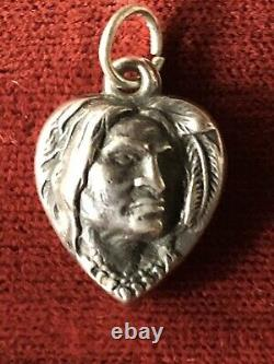 Sterling Silver Reposed Puffy Heart Charm Native American Puffy Heart Charm