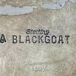 Sterling Silver Turquoise Native American Handmade A Blackgoat Vtg Belt Buckle
