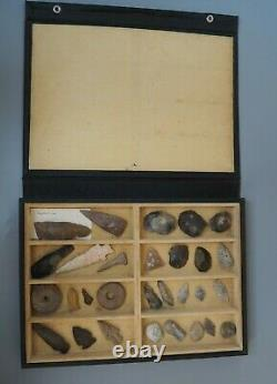 Superb Collection Old Cased Antique Native American & Neolithic Stone Tools Wow
