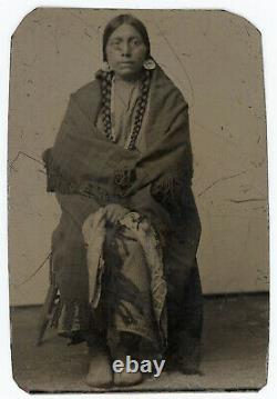 Superb Native American Indian Tintype Antique Photo