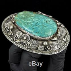 Turquoise Sterling Silver Native American Western Cowgirl 80s Vtg Belt Buckle