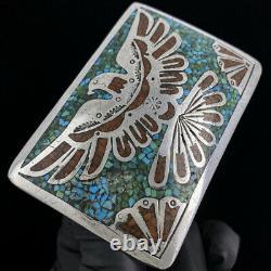 Turquoise Sterling Silver Thunderbird Harvey Native American Vtg Belt Buckle