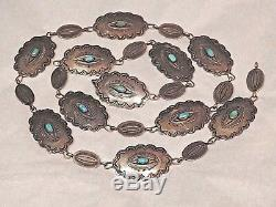 U. S. Navajo Native American Indian Antique Silver Turquoise Concho belt
