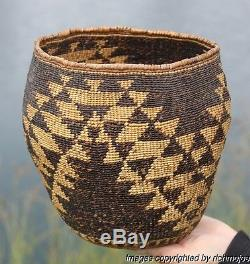VERY FINE LARGE OLD NORTHERN CALIFORNIA PIT RIVER INDIAN BURDEN BASKET c1900 #2