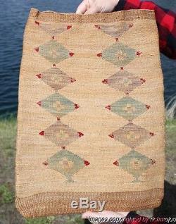 VERY FINE OLD LARGE PLATEAU NEZ PERCE CORN HUSK INDIAN BAG BASKET C1890