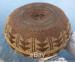 VERY FINE OLD NORTHERN CALIFORNIA HUPA YUROK KAROK INDIAN BASKET HAT BOWL c1900