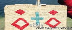 VERY FINE OLD PLATEAU NEZ PERCE CORN HUSK INDIAN BAG BASKET c1900