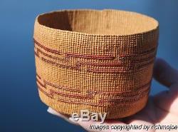 VERY FINE RARE OLD NORTHWEST COAST TLINGIT INDIAN LIDDED BASKET CIRCA 1900