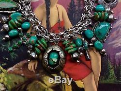 Vintage/antique Rare Green Turquoise Sterling Silver Charm Bracelet! Signed