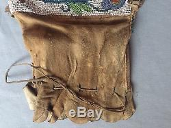 VINTAGE Antique Native American Indian Beaded Bag Medicine Chippewa Ojibway