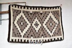 VINTAGE NAVAJO INDIAN Native american WOOL RUG WEAVING Diamond antique 64x38 LG