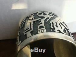 Vintage Signed Kdd Hopi Zuni Navajo Heavy Gauge Sterling Story Cuff Bracelet