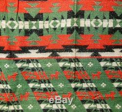 VTG 30s Beacon Style Pictorial Wolf Camp Native American Indian Blanket