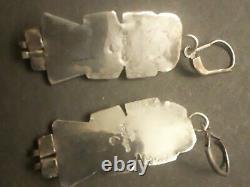 VTG Antique Sterling Silver Turquoise Kachina Dangle Earrings Native American