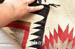 VTG Navajo Rug native american indian weaving Textile Antique 45x32 EYE DAZZLER