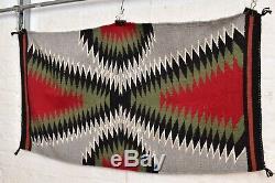 VTG native american textile weaving Navajo indian rug 41x22 antique Eye Dazzler