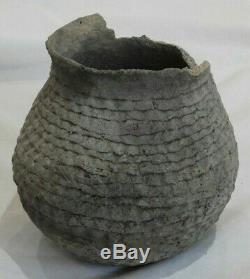 Very Early Antique Native American Indian Coil Clay Pottery Pot