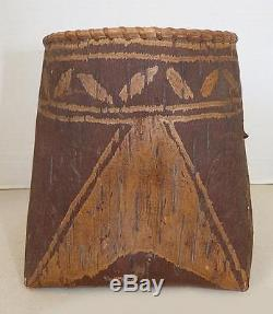 Very Early Maine Passamaquoddy Decorated Birch Bark Berry Basket Vg Cond