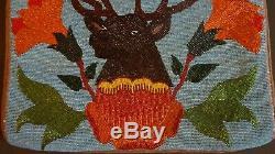 Very Large Native American 1929 Plateau Klickitat Yakima Beaded Bag Elk