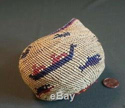 Very Tight Weaved Large Native American Makah Pictorial Basketery Sea Shell