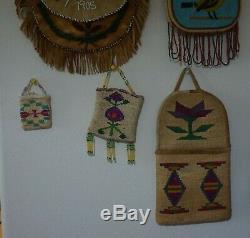 Very Vibrant Antique Native American Yakima Corn Husk Wall Hanger