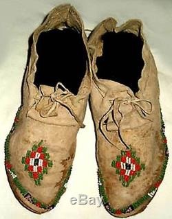 Vintage 10 Antique Native American Late 1800's Plains Indian Beaded Moccasins