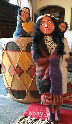 Vintage 1930s 40s Skookum Bully Good Native American Indian Dolls