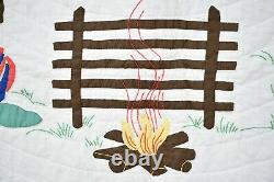 Vintage 30s Cowboy Applique Antique Crib Quilt Native American & Western Themes
