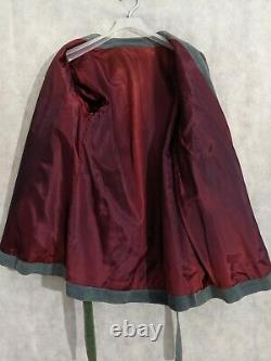 Vintage 40s Southwestern Native American Geometric Kimono Jacket Dyed Leather