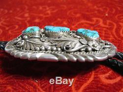 Vintage 60' Roger Skeet / Bolo tie Navajo Turquoise Silver sterling Leather