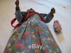 Vintage 8 Hand Carved Jointed Wooden Indian Woman Figure Wood Doll Papoos