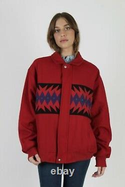 Vintage 80s Pendleton Jacket Native American Southwestern Red Wool Blanket Coat