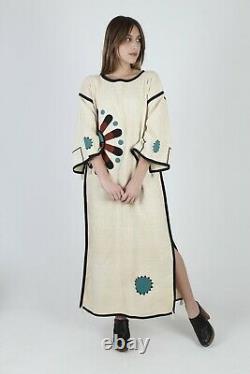 Vintage 80s Southwestern Festival Dress Native American Embroidered Caftan Maxi