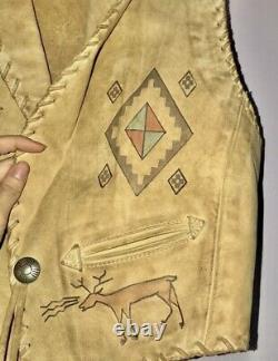 Vintage 90s RALPH LAUREN COUNTRY Native American Hand Tooled Deer-Leather Vest M