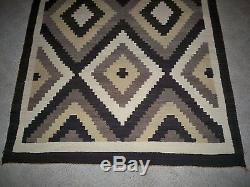 Vintage American Indian Navajo Two Grey Hills Diamond Blanket Rug 65.75 x 44