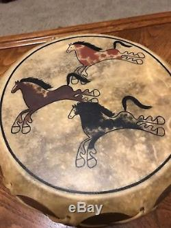 Vintage American Indian Ritual Skin Covered Hand Painted Signed Drum + Pounder