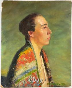 Vintage Antique 1920s Oil Portrait Painting Native American Boy Man C. Johnson
