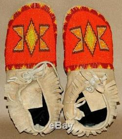 Vintage Antique 9-3/4 Native American Shoshone Indian Beaded Moccasins