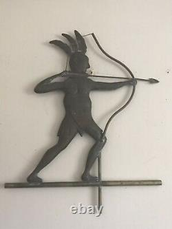 Vintage Antique Copper Native American Weathervane Indian Rare Early 1900s