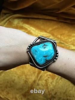 Vintage Antique MASSIVE HUGE Native American Turquoise Silver Cuff Bracelet