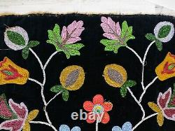 Vintage / Antique Native American Beaded Flowers On Velvet Square 17 X 17