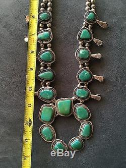 Vintage Antique Native American Navajo Squash Blossom Silver Turqouise Necklace