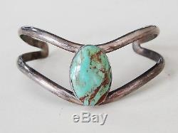 Vintage Antique Native American Navajo Sterling Silver Cuff Bracelet Turquoise