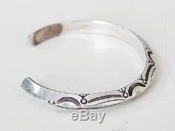 Vintage Antique Native American Sterling Silver Stamped Cuff Bracelet Navajo