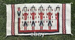 Vintage Antique Navajo Native American Yei Rug 5 Figures Handwoven Tapestry